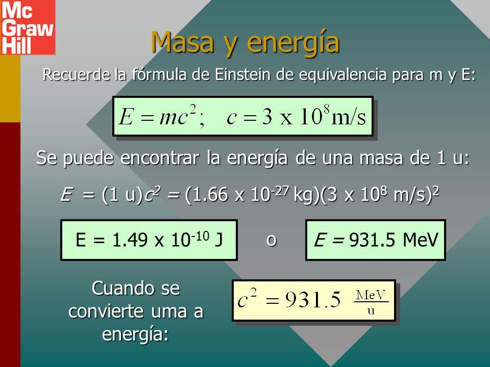 Ejemplo 2: La masa atómica promedio del boro 11 es 11.009305 u. ¿Cuál es la masa en kg del núcleo de un átomo de boro? Electrón: 0.00055 u = 11.009305