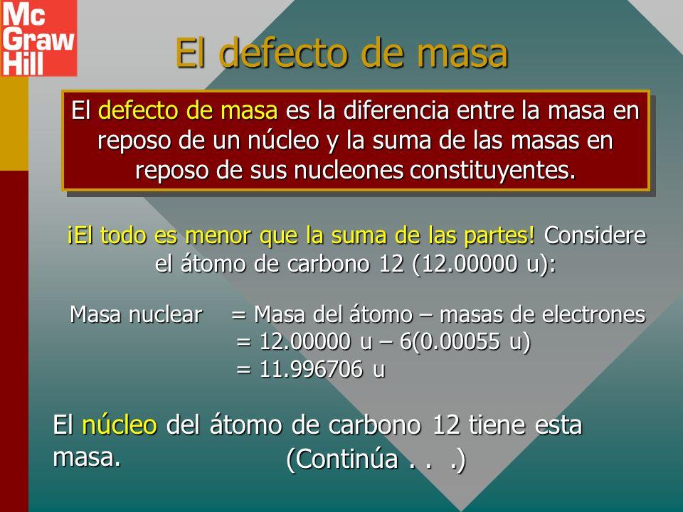 Ejemplo 3: ¿Cuál es la energía de masa en reposo de un protón (1.007276 u)? E = mc 2 = (1.00726 u)(931.5 MeV/u) Protón: E = 938.3 MeV Conversiones sim