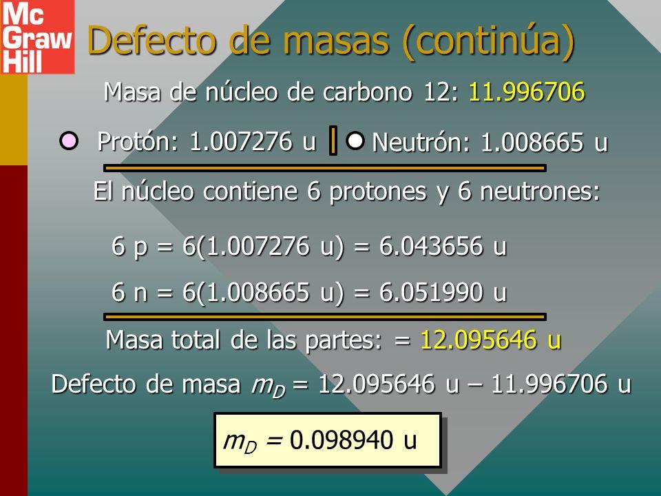 El defecto de masa El defecto de masa es la diferencia entre la masa en reposo de un núcleo y la suma de las masas en reposo de sus nucleones constitu