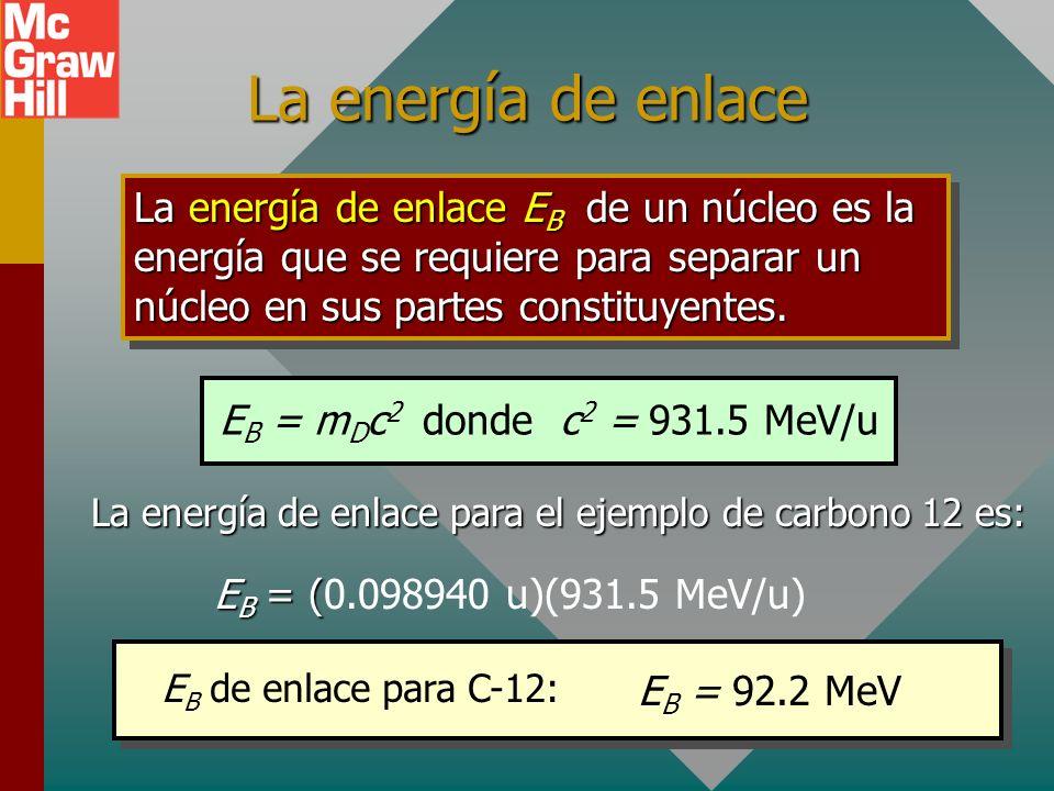 Defecto de masas (continúa) Masa de núcleo de carbono 12: 11.996706 Protón: 1.007276 u Neutrón: 1.008665 u El núcleo contiene 6 protones y 6 neutrones
