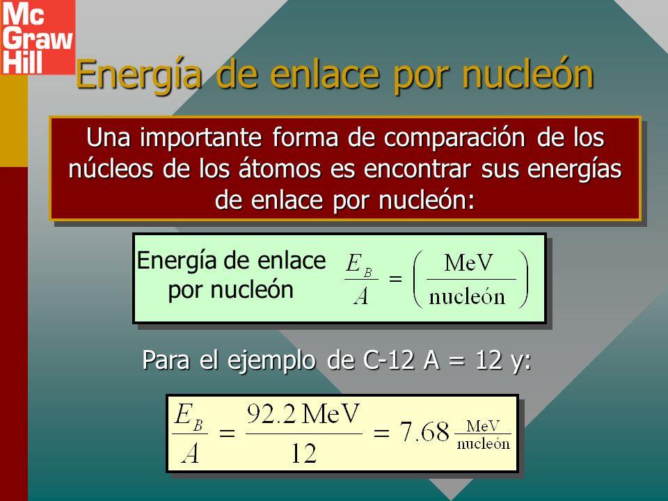 La energía de enlace La energía de enlace E B de un núcleo es la energía que se requiere para separar un núcleo en sus partes constituyentes. E B = m
