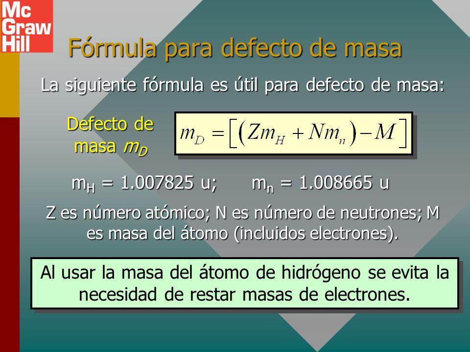 Energía de enlace por nucleón Una importante forma de comparación de los núcleos de los átomos es encontrar sus energías de enlace por nucleón: Para e