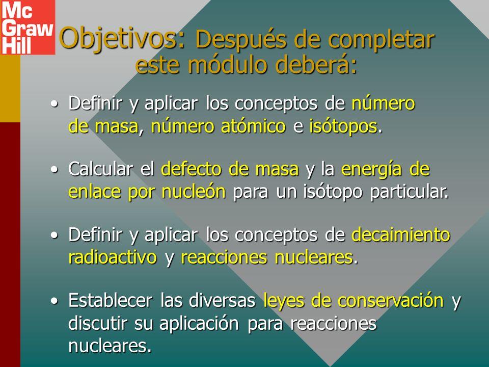 Objetivos: Después de completar este módulo deberá: Definir y aplicar los conceptos de número de masa, número atómico e isótopos.Definir y aplicar los conceptos de número de masa, número atómico e isótopos.
