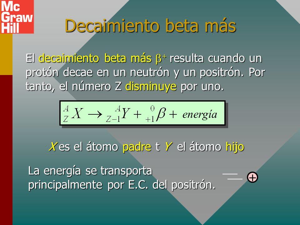 Decaimiento beta menos El decaimiento beta menos resulta cuando un neutrón decae en un protón y un electrón. Por tanto, el número Z aumenta por uno. X