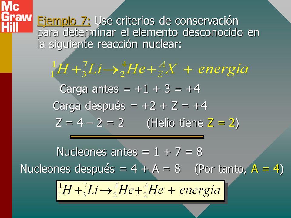 Leyes de conservación Para cualquier reacción nuclear, existen tres leyes de conservación que se deben obedecer: Conservación de carga: La carga total