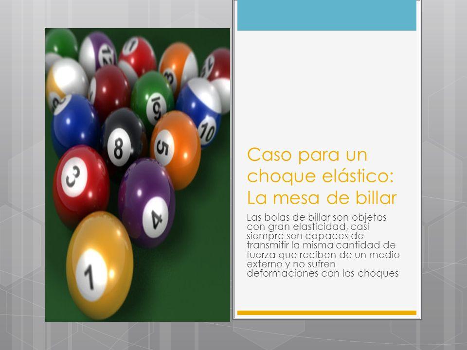Caso para un choque elástico: La mesa de billar Las bolas de billar son objetos con gran elasticidad, casi siempre son capaces de transmitir la misma