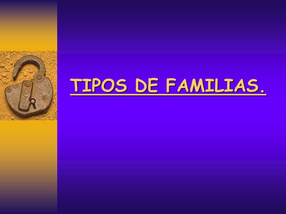 La familia extensa: Constituida por una agrupación numerosa de miembros, en la que junto a los padres e hijos, se incluyen abuelos, tíos, primos etc., abarcando dos o más generaciones.