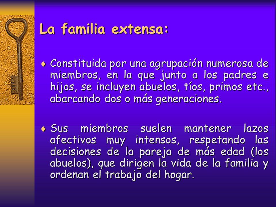La familia nuclear biparental: Es la formada por dos adultos de diferente sexo, que ejercen el papel de padres, y por sus hijos.