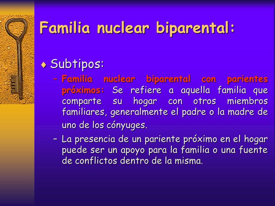 Familia nuclear biparental: Subtipos: Subtipos: –Familia nuclear biparental ampliada: Cuando en el hogar conviven otras personas, que pueden ser parientes (tíos, abuelos, etc.) o personas sin vínculos consanguíneos (allegados, huéspedes, etc.).