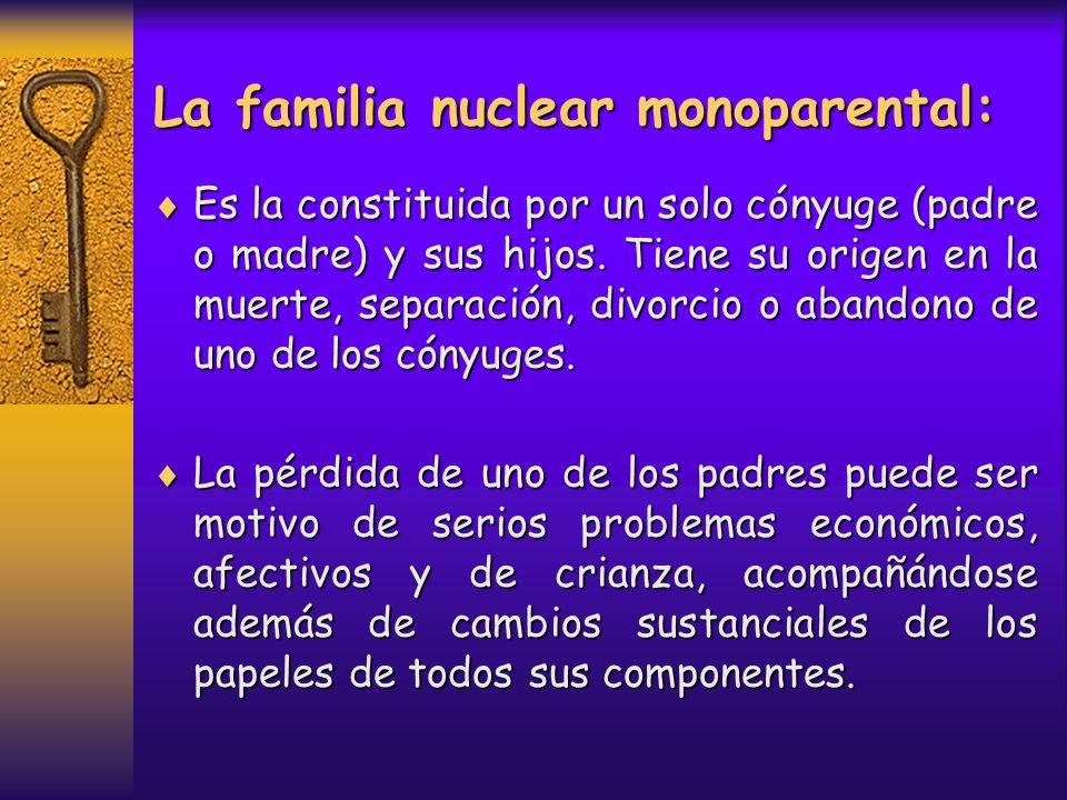 La familia nuclear monoparental: Es la constituida por un solo cónyuge (padre o madre) y sus hijos. Tiene su origen en la muerte, separación, divorcio