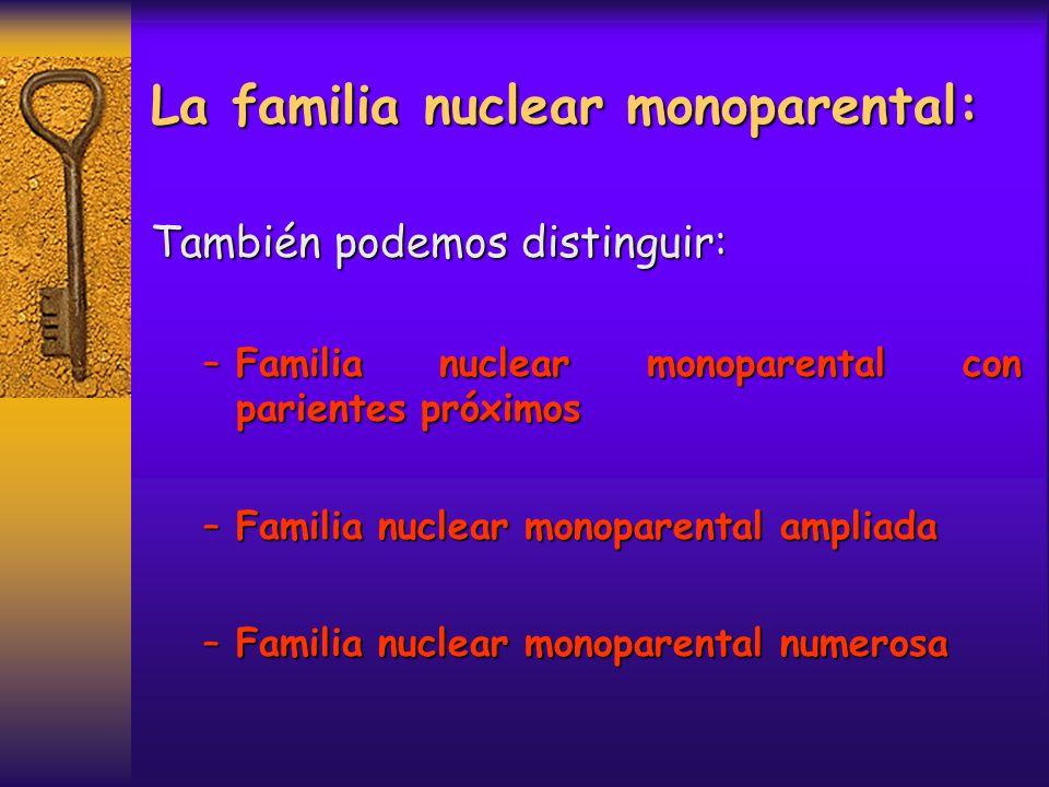 La familia nuclear monoparental: También podemos distinguir: –Familia nuclear monoparental con parientes próximos –Familia nuclear monoparental amplia