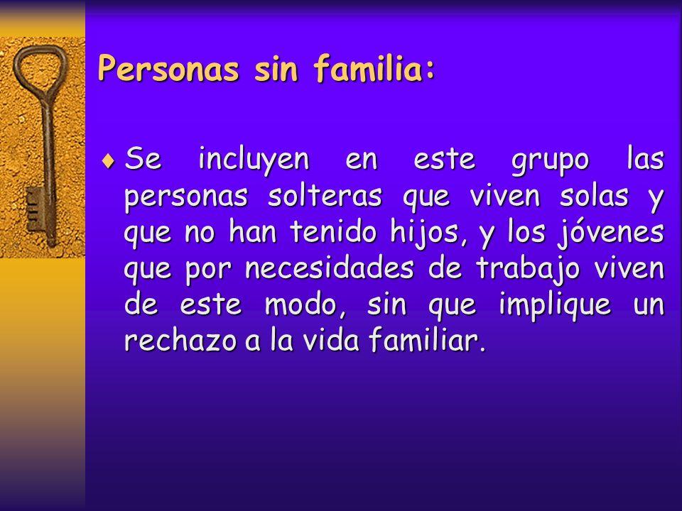 Personas sin familia: Se incluyen en este grupo las personas solteras que viven solas y que no han tenido hijos, y los jóvenes que por necesidades de