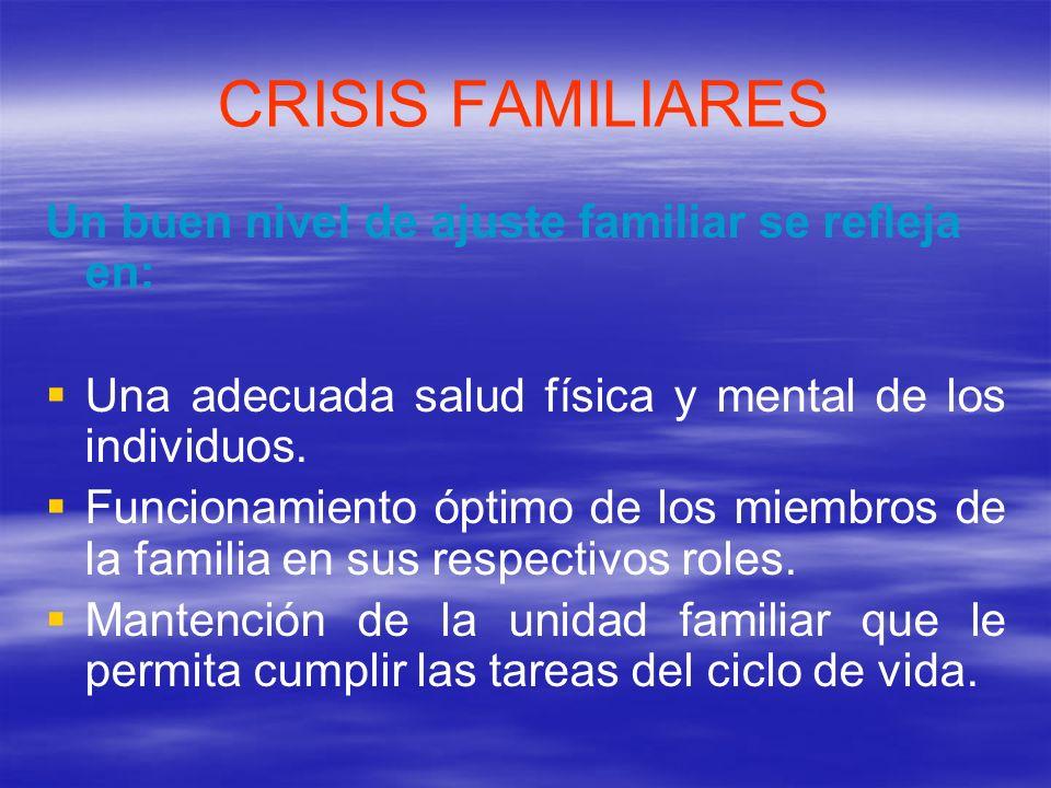 CRISIS FAMILIARES Las crisis familiares se producen cuando hay un desbalance entre las demandas y las capacidades de la familia, produciéndose entonces una desorganización del sistema familiar.