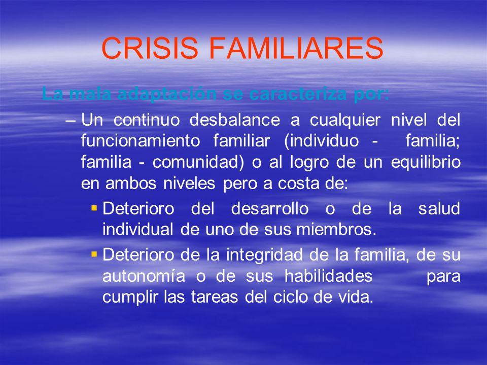 CRISIS FAMILIARES Las crisis familiares pueden ser de 2 tipos: – –Crisis normativas.