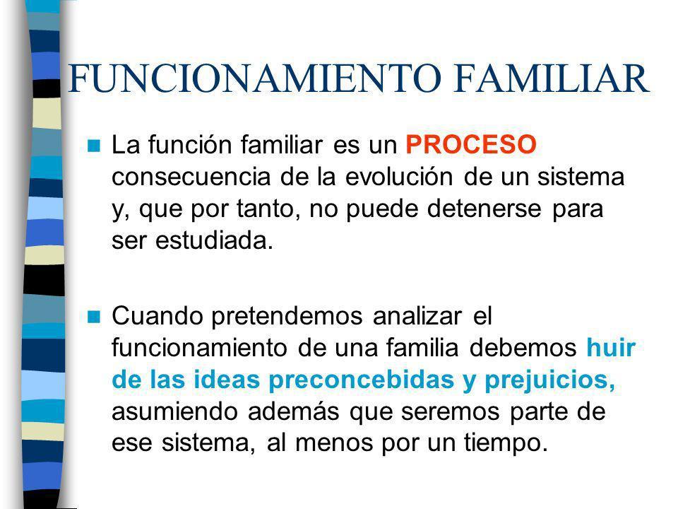FUNCIONAMIENTO FAMILIAR La función familiar es un PROCESO consecuencia de la evolución de un sistema y, que por tanto, no puede detenerse para ser est