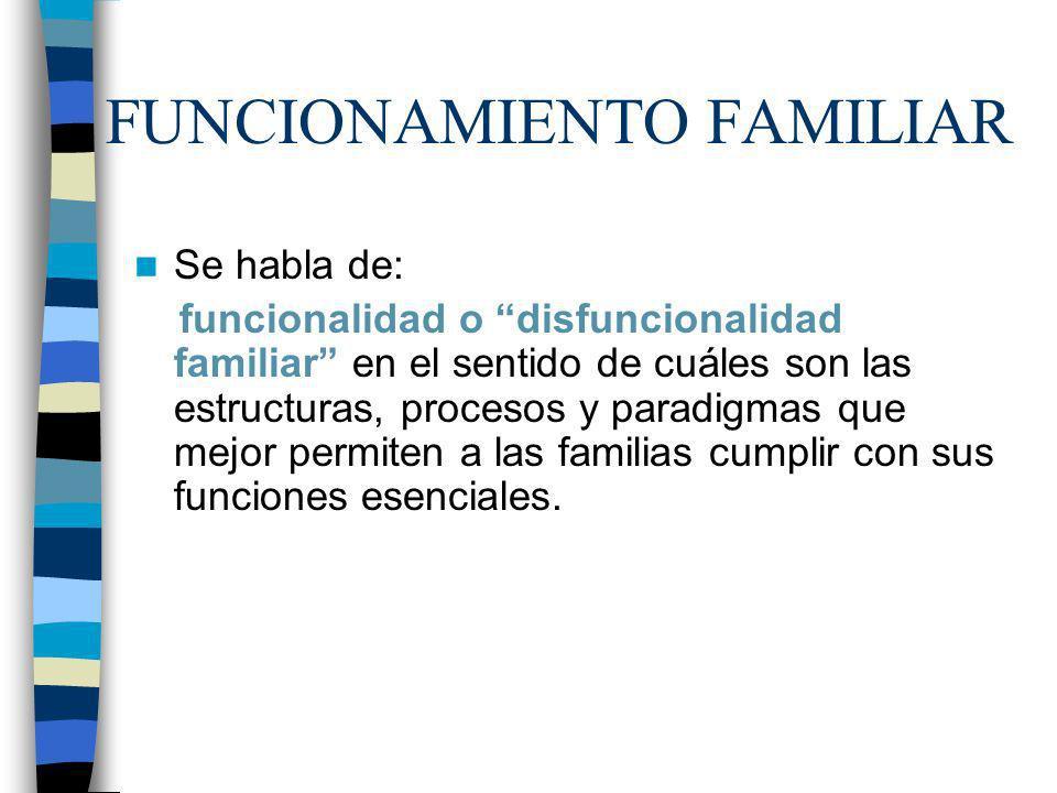 FUNCIONAMIENTO FAMILIAR Se habla de: funcionalidad o disfuncionalidad familiar en el sentido de cuáles son las estructuras, procesos y paradigmas que