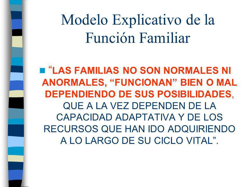 Modelo Explicativo de la Función Familiar LAS FAMILIAS NO SON NORMALES NI ANORMALES, FUNCIONAN BIEN O MAL DEPENDIENDO DE SUS POSIBILIDADES, QUE A LA V