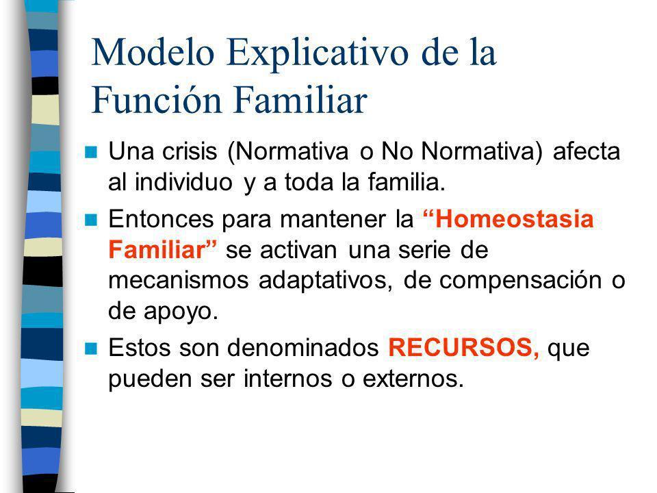 Modelo Explicativo de la Función Familiar Una crisis (Normativa o No Normativa) afecta al individuo y a toda la familia. Entonces para mantener la Hom