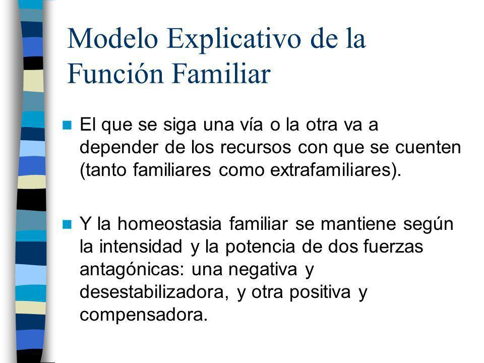 Modelo Explicativo de la Función Familiar El que se siga una vía o la otra va a depender de los recursos con que se cuenten (tanto familiares como ext