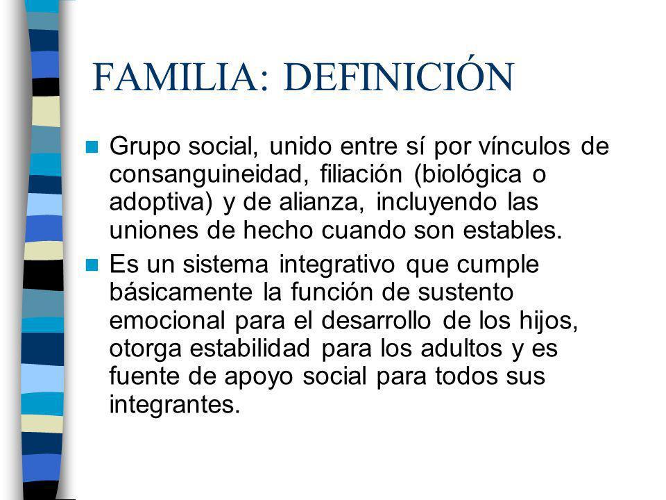 FAMILIA: DEFINICIÓN Grupo social, unido entre sí por vínculos de consanguineidad, filiación (biológica o adoptiva) y de alianza, incluyendo las unione