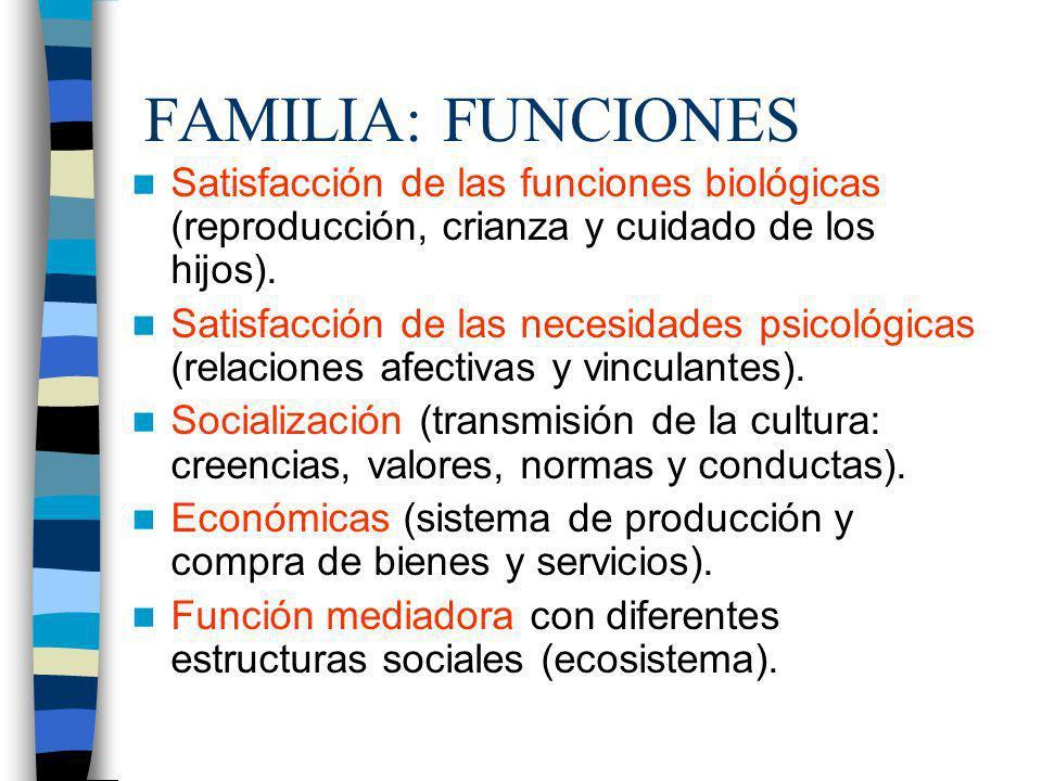 FAMILIA: FUNCIONES Satisfacción de las funciones biológicas (reproducción, crianza y cuidado de los hijos). Satisfacción de las necesidades psicológic