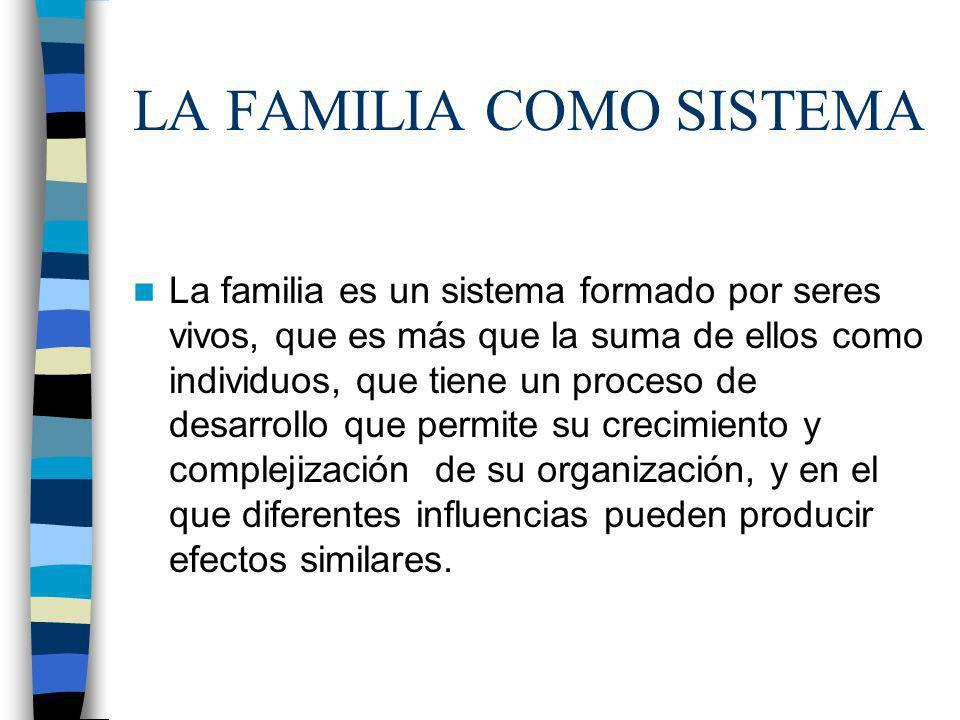 LA FAMILIA COMO SISTEMA La familia es un sistema formado por seres vivos, que es más que la suma de ellos como individuos, que tiene un proceso de des
