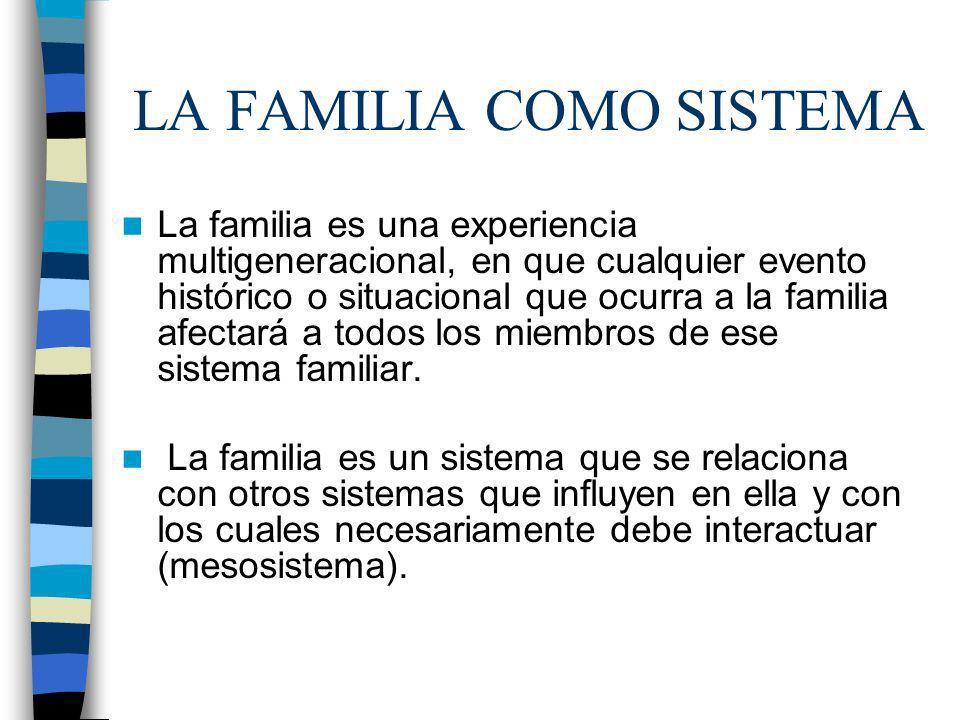 LA FAMILIA COMO SISTEMA La familia es una experiencia multigeneracional, en que cualquier evento histórico o situacional que ocurra a la familia afect