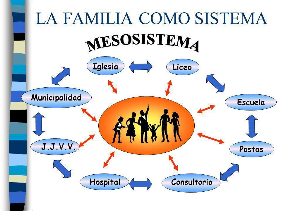 LA FAMILIA COMO SISTEMA HospitalConsultorio Postas Municipalidad Escuela J.J.V.V. Iglesia Liceo
