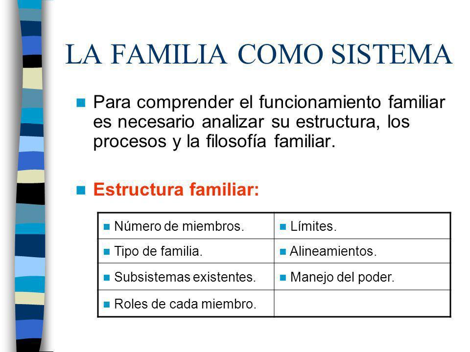 LA FAMILIA COMO SISTEMA Número de miembros. Límites. Tipo de familia. Alineamientos. Subsistemas existentes. Manejo del poder. Roles de cada miembro.