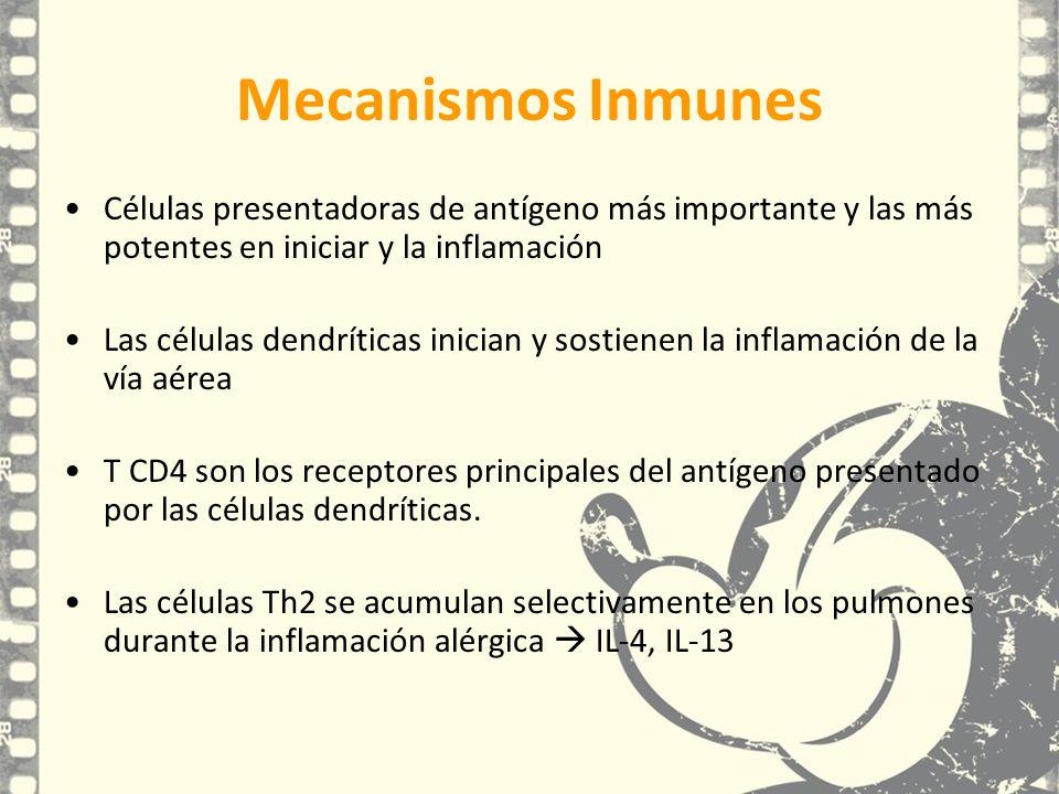 Mecanismos Inmunes Células presentadoras de antígeno más importante y las más potentes en iniciar y la inflamación Las células dendríticas inician y s