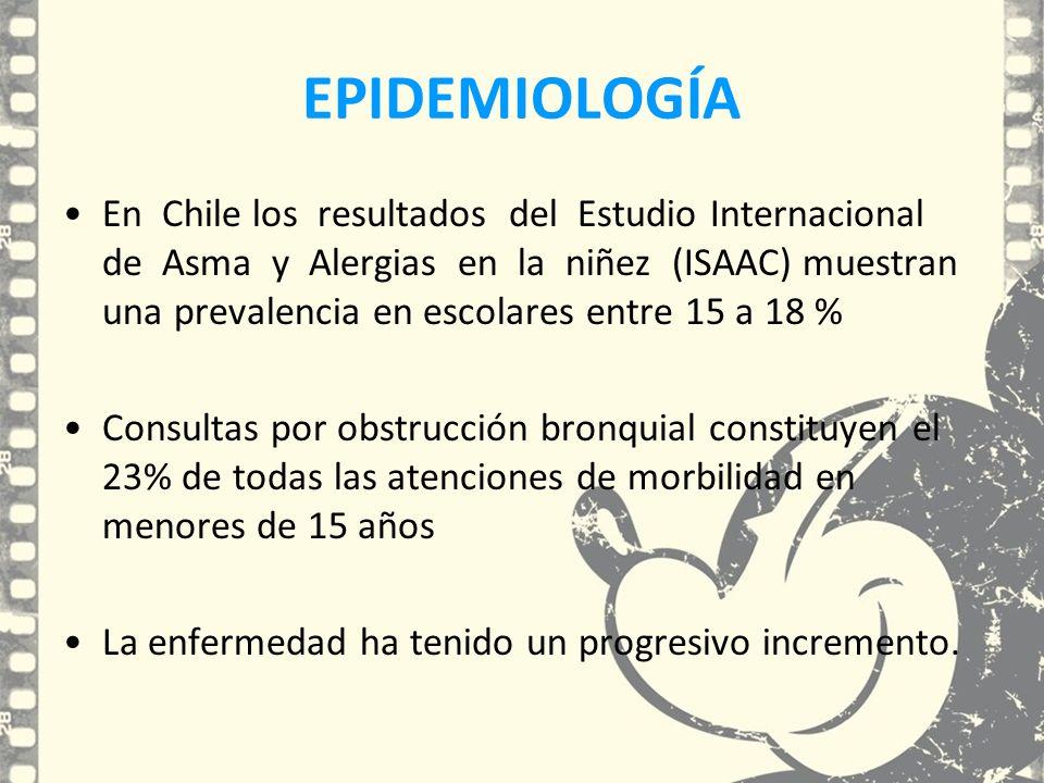 EPIDEMIOLOGÍA En Chile los resultados del Estudio Internacional de Asma y Alergias en la niñez (ISAAC) muestran una prevalencia en escolares entre 15