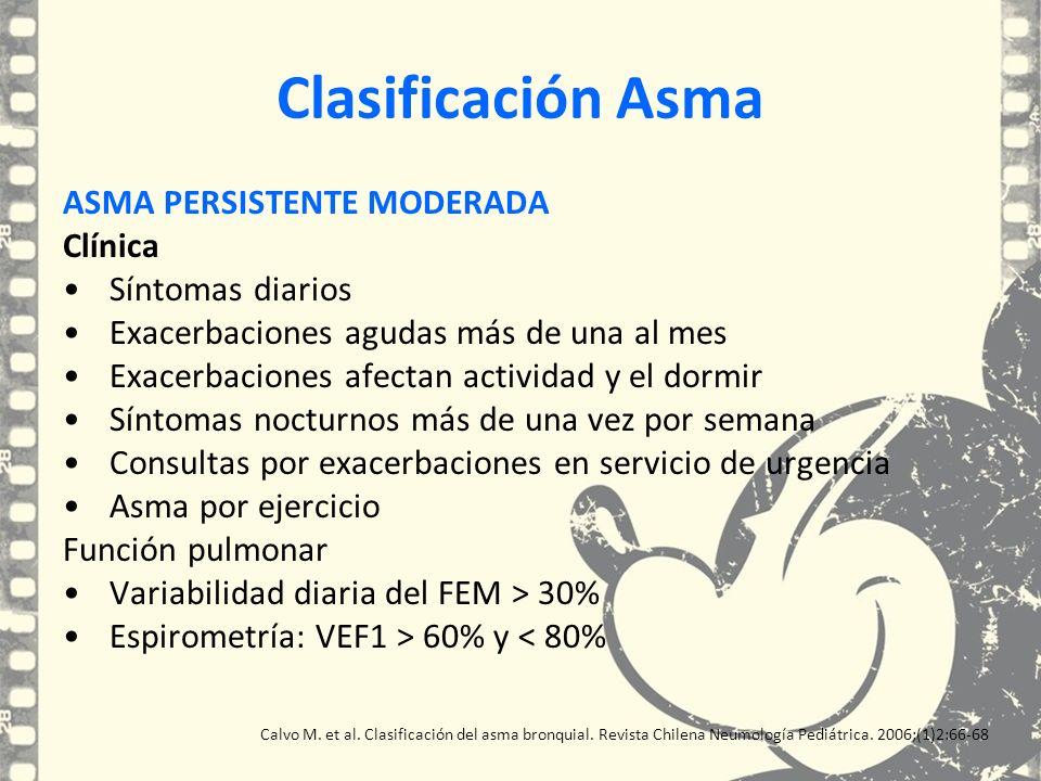 Clasificación Asma ASMA PERSISTENTE MODERADA Clínica Síntomas diarios Exacerbaciones agudas más de una al mes Exacerbaciones afectan actividad y el do