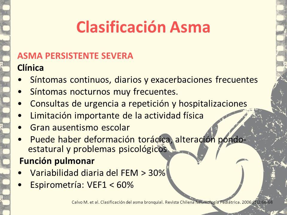 Clasificación Asma ASMA PERSISTENTE SEVERA Clínica Síntomas continuos, diarios y exacerbaciones frecuentes Síntomas nocturnos muy frecuentes. Consulta
