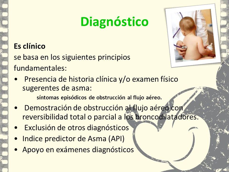 Diagnóstico Es clínico se basa en los siguientes principios fundamentales: Presencia de historia clínica y/o examen físico sugerentes de asma: síntoma