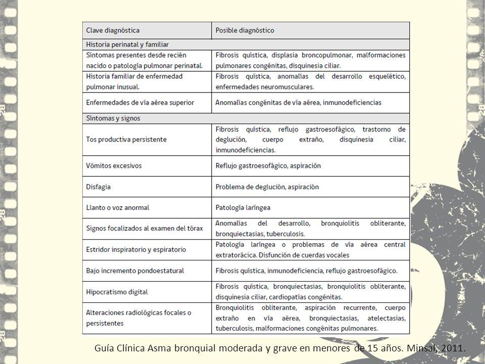 Guía Clínica Asma bronquial moderada y grave en menores de 15 años. Minsal, 2011.