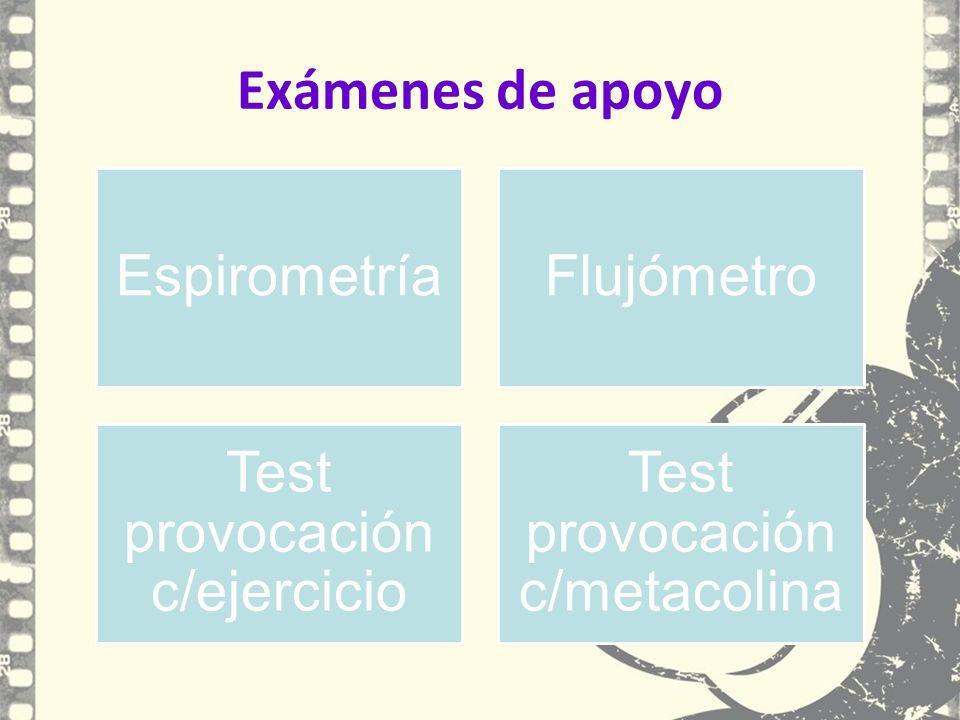 Exámenes de apoyo EspirometríaFlujómetro Test provocación c/ejercicio Test provocación c/metacolina
