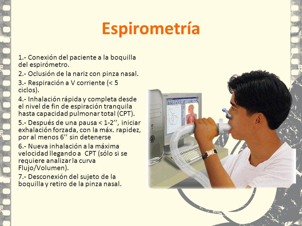 Espirometría 1.- Conexión del paciente a la boquilla del espirómetro. 2.- Oclusión de la nariz con pinza nasal. 3.- Respiración a V corriente (< 5 cic