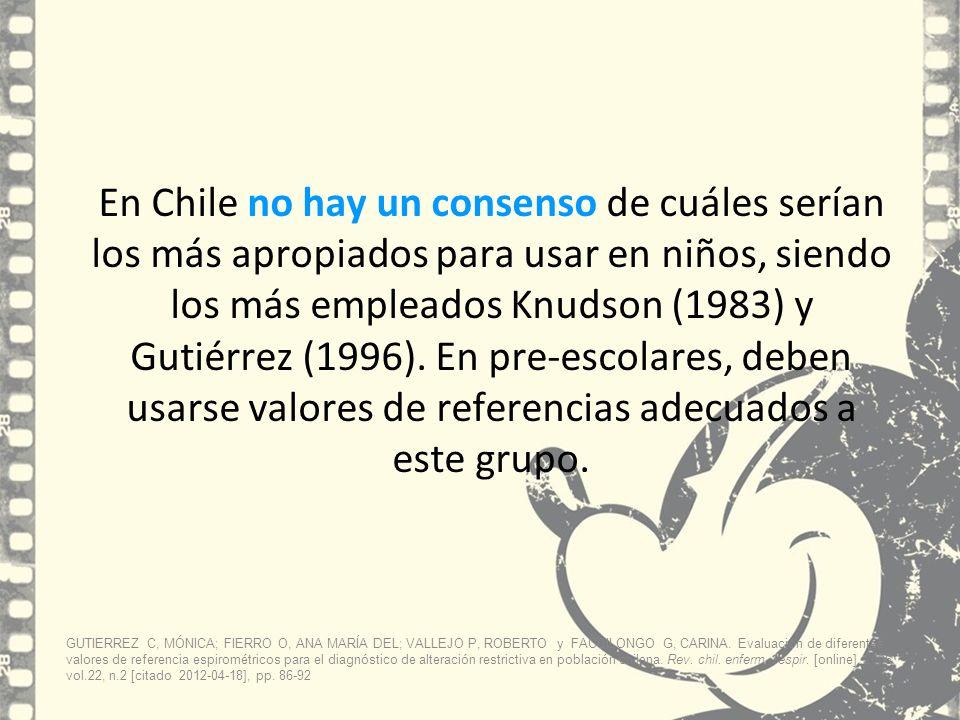 En Chile no hay un consenso de cuáles serían los más apropiados para usar en niños, siendo los más empleados Knudson (1983) y Gutiérrez (1996). En pre