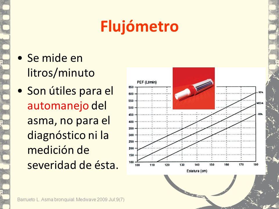 Flujómetro Se mide en litros/minuto Son útiles para el automanejo del asma, no para el diagnóstico ni la medición de severidad de ésta. Barrueto L. As