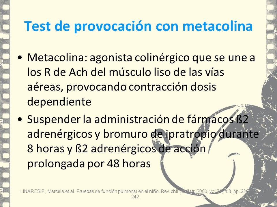 Test de provocación con metacolina Metacolina: agonista colinérgico que se une a los R de Ach del músculo liso de las vías aéreas, provocando contracc