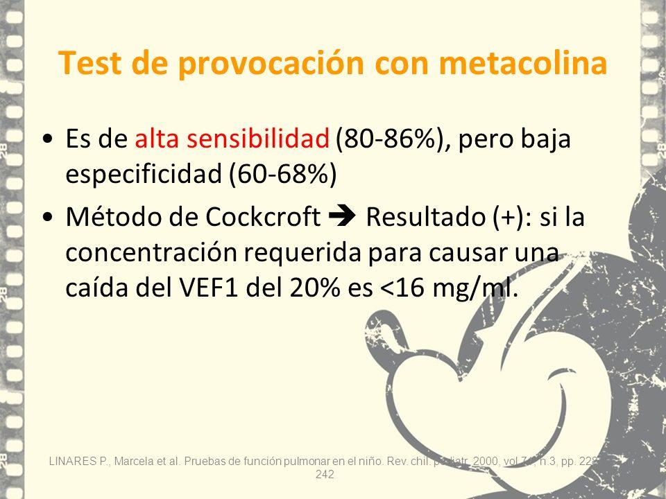 Test de provocación con metacolina Es de alta sensibilidad (80-86%), pero baja especificidad (60-68%) Método de Cockcroft Resultado (+): si la concent