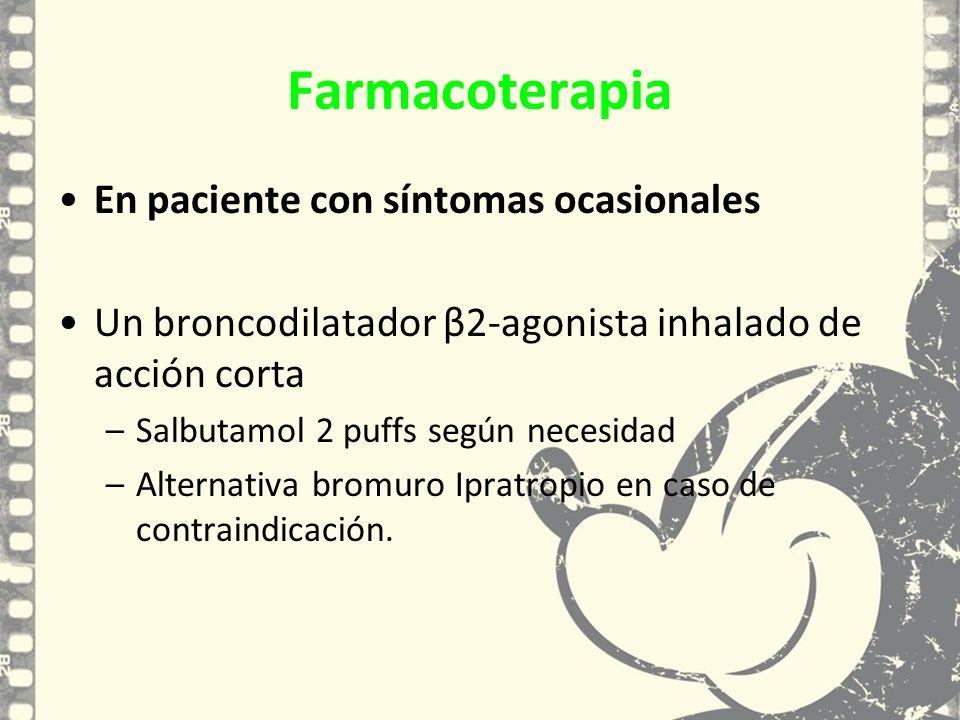 En paciente con síntomas ocasionales Un broncodilatador β2-agonista inhalado de acción corta –Salbutamol 2 puffs según necesidad –Alternativa bromuro