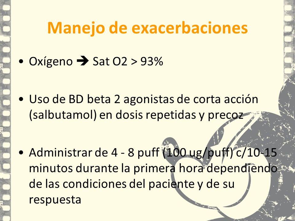 Oxígeno Sat O2 > 93% Uso de BD beta 2 agonistas de corta acción (salbutamol) en dosis repetidas y precoz Administrar de 4 - 8 puff (100 ug/puff) c/10-