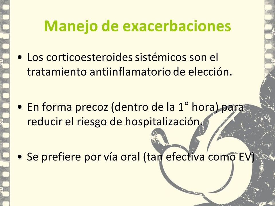 Manejo de exacerbaciones Los corticoesteroides sistémicos son el tratamiento antiinflamatorio de elección. En forma precoz (dentro de la 1° hora) para