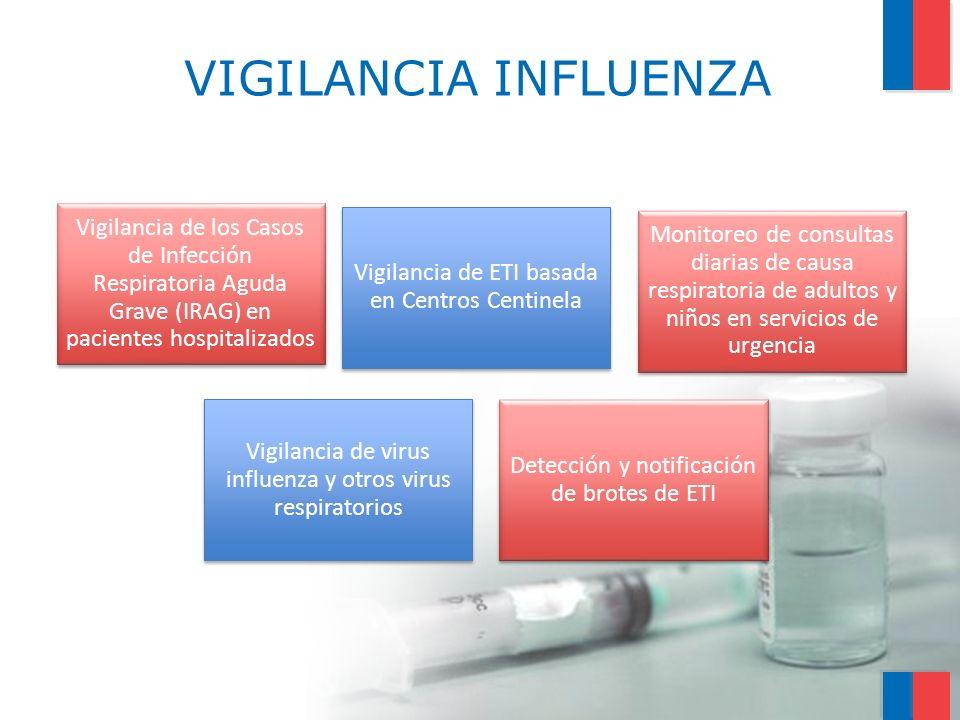VIGILANCIA INFLUENZA Vigilancia de ETI basada en Centros Centinela Vigilancia de los Casos de Infección Respiratoria Aguda Grave (IRAG) en pacientes h