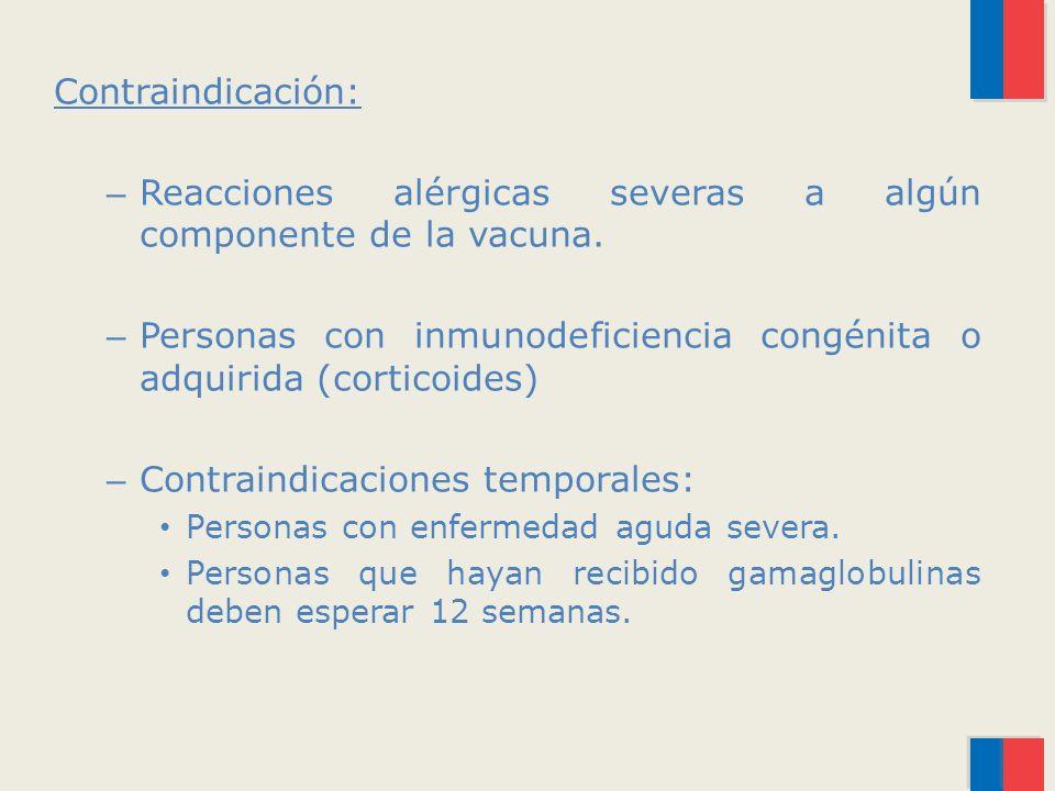 Contraindicación: – Reacciones alérgicas severas a algún componente de la vacuna.