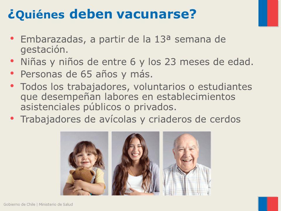 ¿ Quiénes deben vacunarse. Embarazadas, a partir de la 13ª semana de gestación.