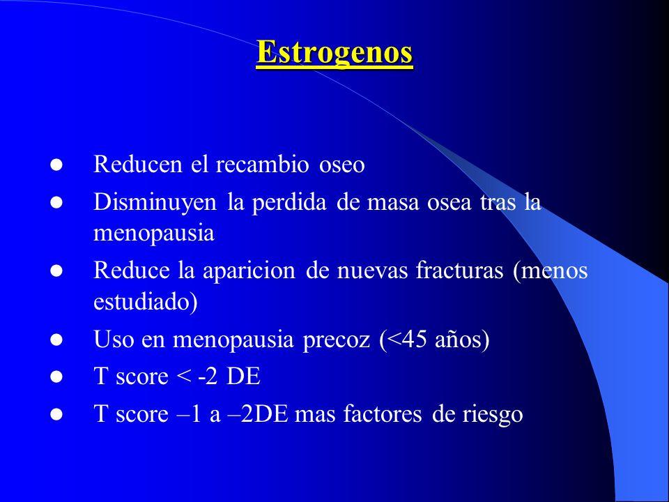 Estrogenos Reducen el recambio oseo Disminuyen la perdida de masa osea tras la menopausia Reduce la aparicion de nuevas fracturas (menos estudiado) Us