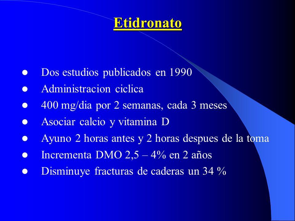 Etidronato Dos estudios publicados en 1990 Administracion ciclica 400 mg/dia por 2 semanas, cada 3 meses Asociar calcio y vitamina D Ayuno 2 horas ant