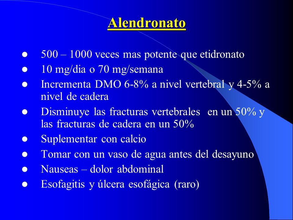 Alendronato 500 – 1000 veces mas potente que etidronato 10 mg/dia o 70 mg/semana Incrementa DMO 6-8% a nivel vertebral y 4-5% a nivel de cadera Dismin